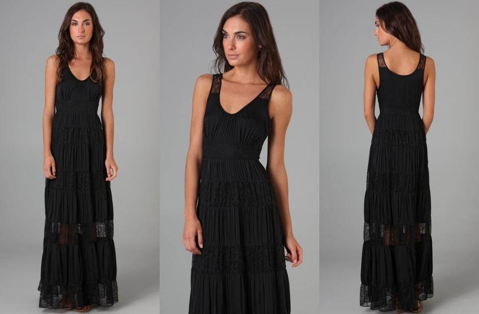 CATHERINE MALANDRINO - maxi dress with lace panels